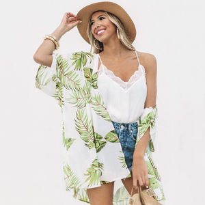 Neue Frauen Chiffon Kimono Cardigan Leaves Print Boho Lose Oberbekleidung Beachwear Bikini vertuschen