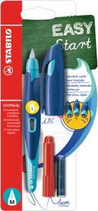 Ergonomischer Schulfüller für Linkshänder mit Standard-Feder M - STABILO EASYbirdy in mitternachtsblau/azur - Einzelstift - Schreibfarbe blau (löschbar) - inklusive Patrone und Einstellwerkzeug