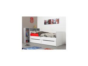 Bett mit integriertem Regal & Schubladen OSCAR - 90 x 200 cm - Weiß & Grau