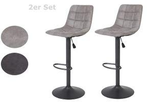 2er Set Barhocker Yvonne  Vintage Grau, 360° drehbar, höhenverstellbar 62-83cm, grauer Fuß