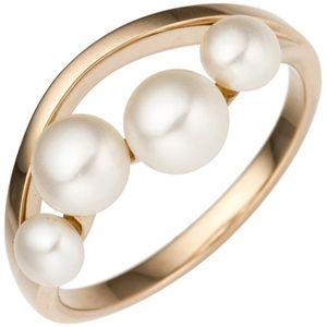 JOBO Damen Ring 54mm 585 Rotgold Rosegold 4 Süßwasser Perlen Perlenring Rosegoldring