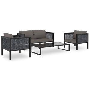 Garten-Palettensofa-Set 5-TLG. Sitzgruppe Gartengarnitur Garten-Lounge-Set mit Auflagen Poly Rattan Anthrazit☆2542