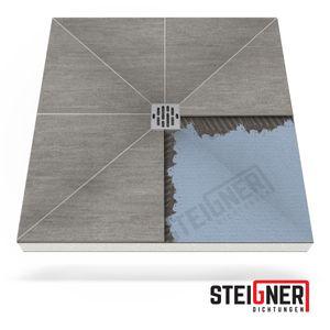 Duschelement MINERAL PLUS Duschboard befliesbar 120x120 cm Ablauf WAAGERECHT -- EPS Bodenelement ebenerdig barrierefreie Duschwanne bodengleich