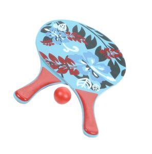 3-teiliges Beachball-Set, Strandspielzeug für Kinder und Erwachsene, 2 stabile Holzschläger und 1 Kunststoffball, Tragenetz mit Aufhängeöse, Design2