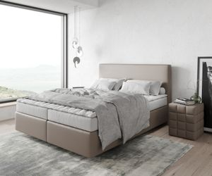 Bett Dream-Well Kunstleder Taupe 160x200 cm mit Matratze und Topper