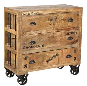 SIT Möbel Kommode auf Rollen | 3 Schubladen | Mango-Holz natur antik | B 90 x T 40 x H 90 cm | 01910-04 | Serie RUSTIC
