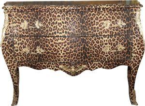 Casa Padrino Barock Kommode Leopard mit goldenen Metall Applikationen 123 cm - Barock Möbel