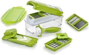 iLiebe Smart (10 tlg.) in Kiwi - Gemüseschneider für Würfel, Stifte, Scheiben, Streifen und Viertel