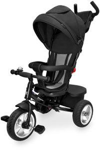 Kinderdreirad mit Schubstange und Sicherheitsgurt, Dreirad Tricycle für Kinder ab 1- 5 Jahre- Schwarz