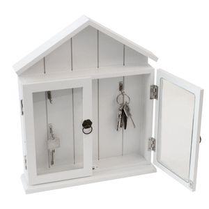 Schlüsselkasten mit 2 Glastüren 6 Haken 32,7x27,2x6,1cm Weiß