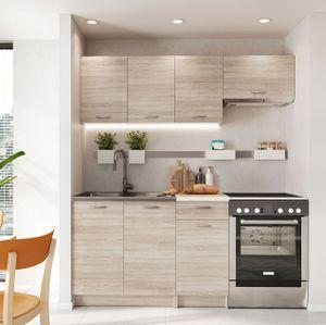 Mirjan24 Küche Mela 180, Küchenzeile, 5 Schrank-Module frei kombinierbar, Küche-Set, Küchenmöbel (Sonoma Eiche/Petra Beige)