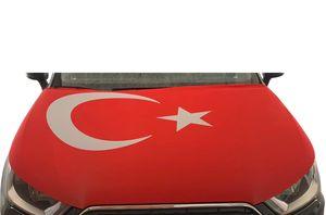 """WM """"Motorhauben Überzieher"""" Fußball Fan Auto Fahne Länder Flagge : Türkei"""