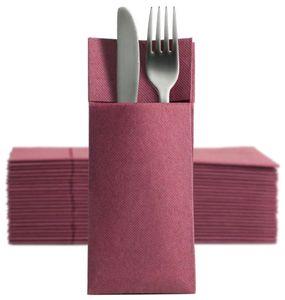 50 Softpoint Besteckservietten Bestecktaschen bordeaux