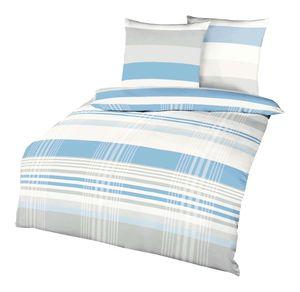 Kaeppel Renforcé-Linon-Bettwäsche Prime Time 135x200cm, Farbe Hellblau mit Streifen