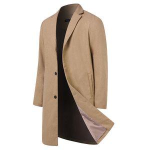 Herren Warme Wolle Coat Wintermantel Jacke Herrenmantel Winterjacke Farbe: Khaki Größe: M