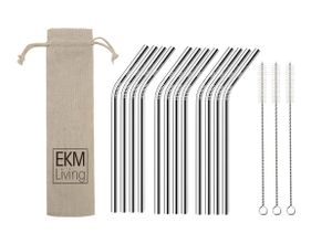 EKM Living Edelstahl Strohhalme 12er Set Silber gebogen GmbH, Trinkhalme, bruchfest, wiederverwendbar, spülmaschinengeeignet, plastikfrei (Silber gebogen, 12)