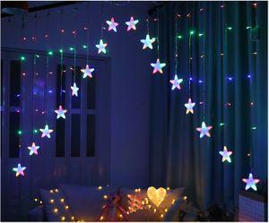 136 LED Lichterkette Lichtervorhang Weihnachten Sterne 11336, Farbe:Multikolor