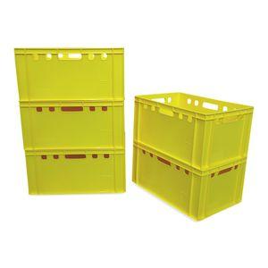 5 x Eurofleischerkiste Vorratsbox E3 Kiste Behälter Gemüsekiste stabelbar Farbe gelb