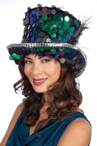 Kostüm Zubehör Pfau Zylinder Luxus Pailletten Karneval Fasching