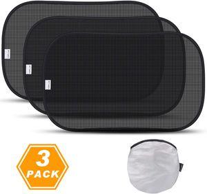 TOPLUS Auto Sonnenschutz Autosonnenschutz Sonnenblenden für Baby,Kinder mit UV Schutz,51 * 31 cm,3 Pack für Seitenscheiben/Autofenster (schwarz)