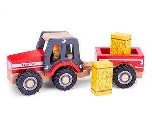 New Classic Toys traktor Little Driver24 cm Holz rot 4-teilig