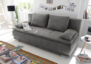 """Couch """"Luigi"""" Schlafcouch Bettsofa Schlafsofa Sofabett Funktionssofa ausziehbar stone 208 cm"""