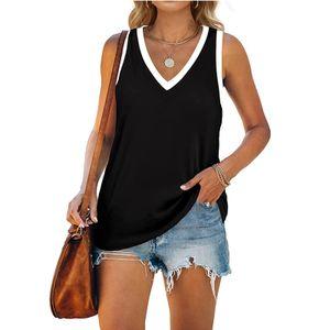 Fashion Womens Solid Color Spleißen Lässige Strappy Sling Ärmelloses Tank Top Größe:XL,Farbe:Schwarz