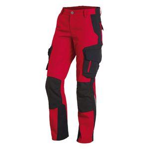 FHB Arbeitshose Damen Alma Bundhose rot schwarz Damenhose, Damengröße:42