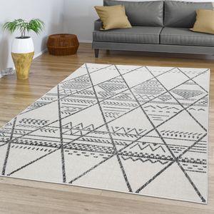 Wohnzimmer Teppich Kurzflor Mit Skandinavischer Optik In Modernem Ethno Design, Farbe:Natur, Größe:200x290 cm