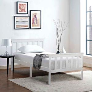 Merax Jugendbetten 90x200cm Einzelbett Kiefer Bettgestell mit lattenrost und Kopfteil Massivholzbett Bett Gästebett, Weiß