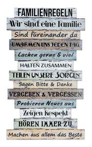 Wandbild 56 x 33 cm Familienregeln Holzschild Shabby Chic Vintage Deko Sprüche