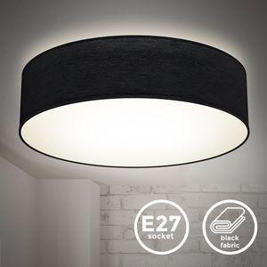 Deckenlampe Stoffdeckenleuchte Deckenleuchte Bürolampe Textilschirm E27 2-Flammig Ø38cm Schwarz ohne Leuchtmittel B.K.Licht