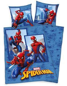Marvel SPIDERMAN Bettwäsche 80x80 + 135x200cm, Baumwolle mit Reißverschluss