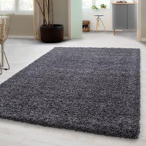 Hochflor Shaggy Teppich, Wohnzimmer Shaggy teppich, einfarbig Langflor, Weich, Maße:200 cm x 290 cm, Farbe:Grau