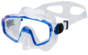 AQUAZON SHARK Junior Medium Schnorchelbrille, Taucherbrille, Schwimmbrille, Tauchmaske für Kinder, Jugendliche von 7-14 Jahren, Tempered Glas, sehr robust, tolle Paßform , Farbe:blau transparent