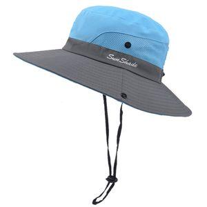 Blau Damen Sonnenschutz Pferdeschwanz Fischerhut im Freien Hut Mütze Cap