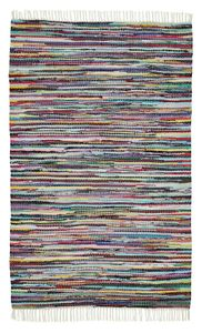 Fleckerl Handweb 80 x 200 cm Teppich Bunt Läufer Fleckerlteppich Fransen waschbar Baumwolle