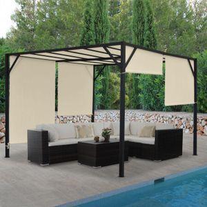 Pergola Baia, Garten Pavillon Terrassenüberdachung, stabiles 6cm-Stahl-Gestell + Schiebedach  4x4m