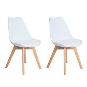 IPOTIUS 2er set Skandinavischen Retro Design Gepolsterter Stuhl Kunststoff PP Esszimmerstühle,mit Massivholz Buche Bein,Weiß