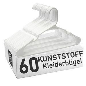 Clothink 60er-Pack Weiss Kleiderbügel Platzsparend, starker hochwertiger Kunststoff für Gute Belastbarkeit - Kleiderbügel für Hemd, Kleid, Anzug, Jacke, Träger - rutschfest