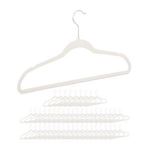 relaxdays 50 x Kleiderbügel Samt, Bügel Set weiß, Samtbügel Hosenbügel Garderobenbügel