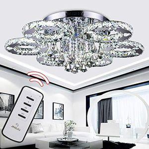 Wolketon 88W LED Kristall Kronleuchter mit Fernbedienung Modern Deckenleuchte Lichtfarbe einstellbar LED Deckenlampe fuer Wohnzimmer Kuechen Schlafzimmer mit Fernbedienung¡