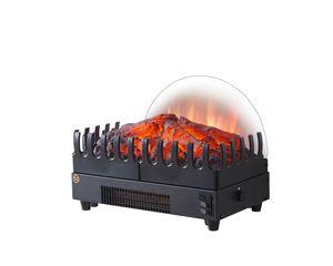 RICHEN Elektrischer Kamineinsatz Atlas - Kamineinsatz aus Metall Mit Thermosthat & 3D-Flammeneffekt - Kamineinsatz Metall/Schwarz