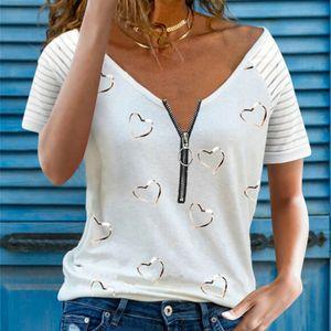 Frauen Hearts Print Kurzarm-T-Shirt V-Ausschnitt Patchwork Top T-Shirt, Weiß, XL