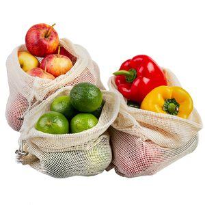 ECENCE Obst- und Gemüsebeutel, 3 Stck. in 3 Größen, wiederverwendbares Einkaufsnetz, Baumwollnetz