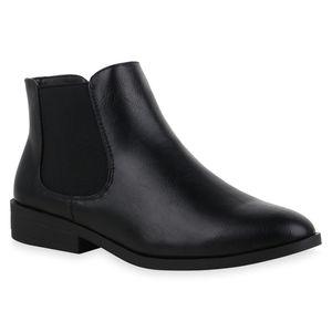 Mytrendshoe Damen Stiefeletten Chelsea Boots Blockabsatz Kurzschaft-Schuhe 835613, Farbe: Schwarz PU, Größe: 39
