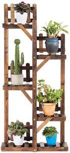 GOPLUS Blumenregal aus Massivholz, Blumentreppen mit Mehreren Etagen, Mehrstöckiges Pflanzenregal, Blumenständer für Balkon, Wohnzimmer oder Garten für Innen und Außen (5 Etagen)