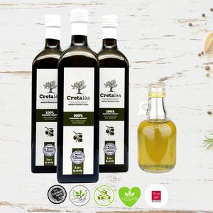Olivenöl Extra Virgin Nativ aus Kreta, 3 x 1 Liter Flasche, Ernte 20/21, MHD:06/22