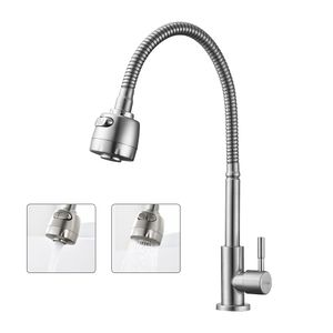 Kaltwasserhahn Küchenarmatur 304 Edelstahl Wasserhahn Küche mit 2 Strahlen Spültischarmatur mit flexiblem Hals Armatur Küche 360 ° drehbarer Armatur für Küche