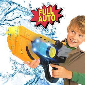 Wasserpistole Wasserpistolen elektrische mit LED Wasserspielzeug mit großer Reichweite Wassergewehr für Kinder Garten Strand Outdoor Spielzeug Schwarz Orange
